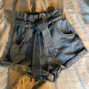 Zara denim shorts with bow in front